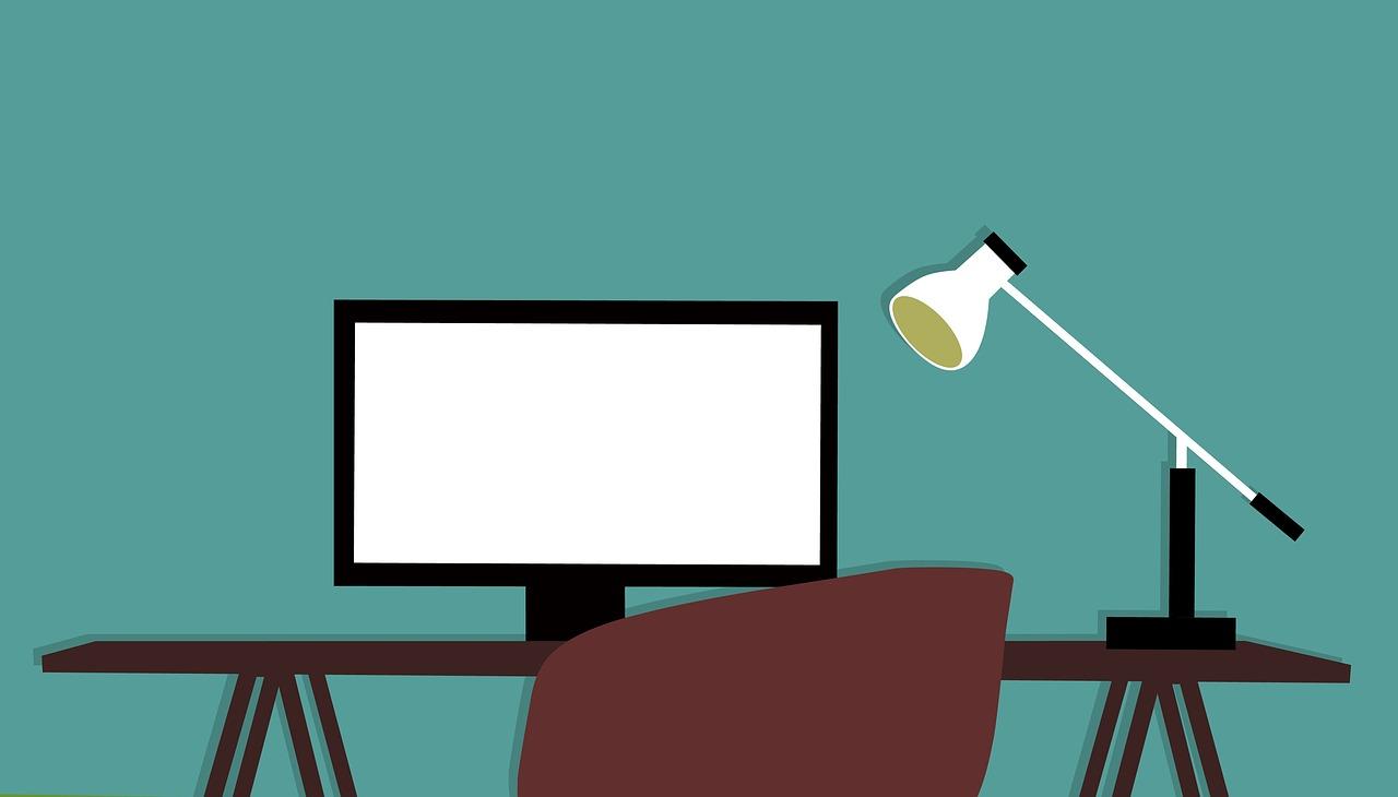 Animerat skrivbord och skärm